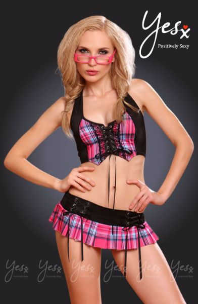 Picture of YesX YX145 Naughty School Girl Rose/Black YESYX145