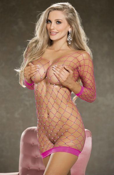 Picture of Shirley of Hollywood Sparkly Stretch Fishnet Long Sleeve Chemise Pink 90429PNK