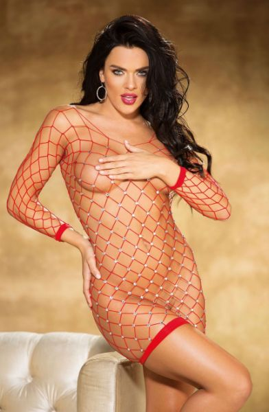 Picture of Shirley of Hollywood Sparkly Stretch Fishnet Long Sleeve Chemise Red 90429RED