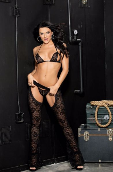 Picture of Shirley of Hollywood Stretch Lace Chaps Three Piece Set Black 90442BLK