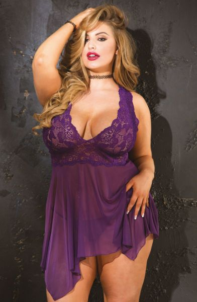 Picture of Shirley of Hollywood Queen Sizing Lacey and Tulle Baby Doll Purple 96618QPUR