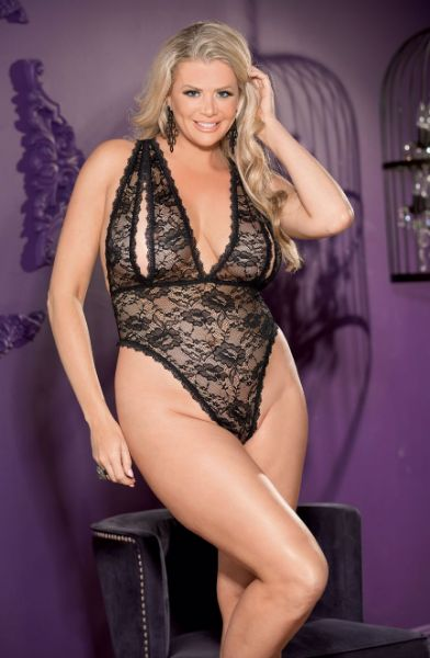 Picture of Shirley of Hollywood Floral Lace Peek a Boo Queen Teddy Black 96764QBLK