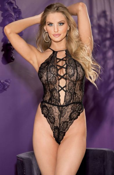Picture of Shirley of Hollywood Floral Stretch Lace Teddy Criss Cross Front Black 96771BLK