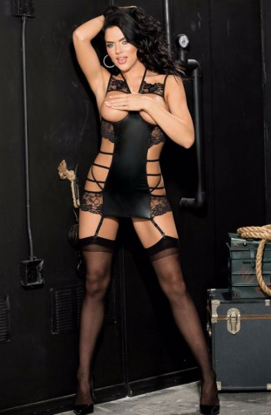 Picture of Shirley of Hollywood Stretch Cire and Lace Open Bust Chemise Black 96784BLK