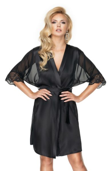 Picture of Irall Sharon Dressing Gown Black IRSHARONDGOWNBLK