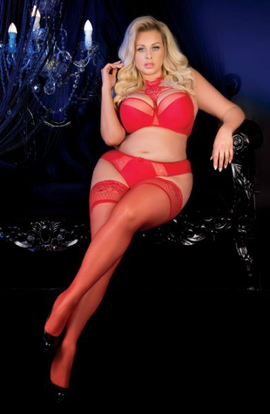 Picture of Ballerina 487 Red Lace Top Hold Ups PLUS SIZES BAL487RED