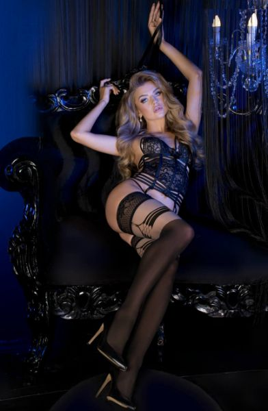 Picture of Ballerina 496 Black/Skin Back Thigh Detail Hold Ups BAL496BLK/SKIN