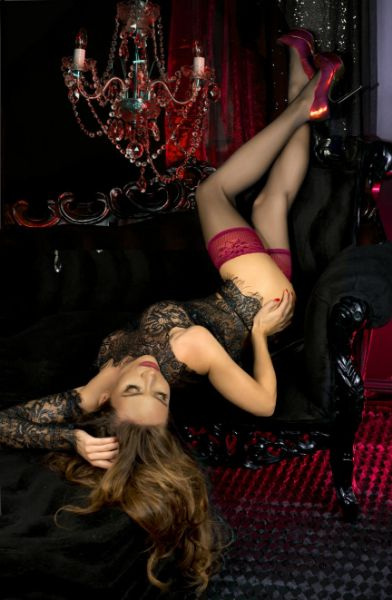 Picture of Ballerina 502 Black Raspberry Lace Top Hold Ups BAL502BLK