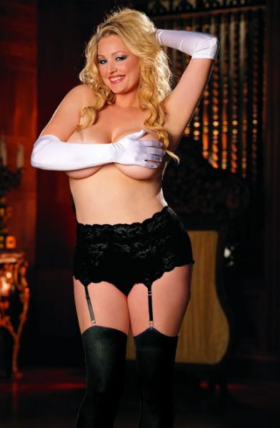 Picture of Shirley of Hollywood Black Deep Lacey Suspender Belt X20146