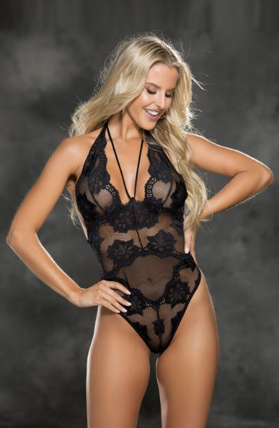 Picture of Shirley of Hollywood 25814 Lace Teddy Black