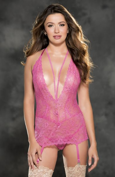 Picture of Shirley of Hollywood 31385 Gartered Chemise Hot Pink