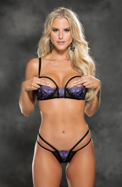 Picture of Shirley of Hollywood 31426 Bra Set Black/Purple