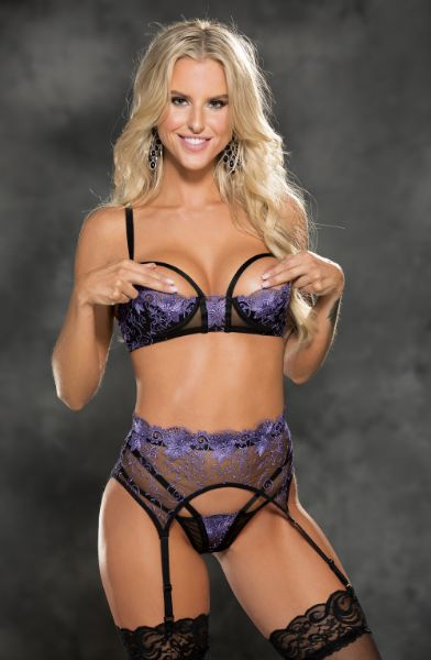 Picture of Shirley of Hollywood 31427 Suspender Belt Black/Purple
